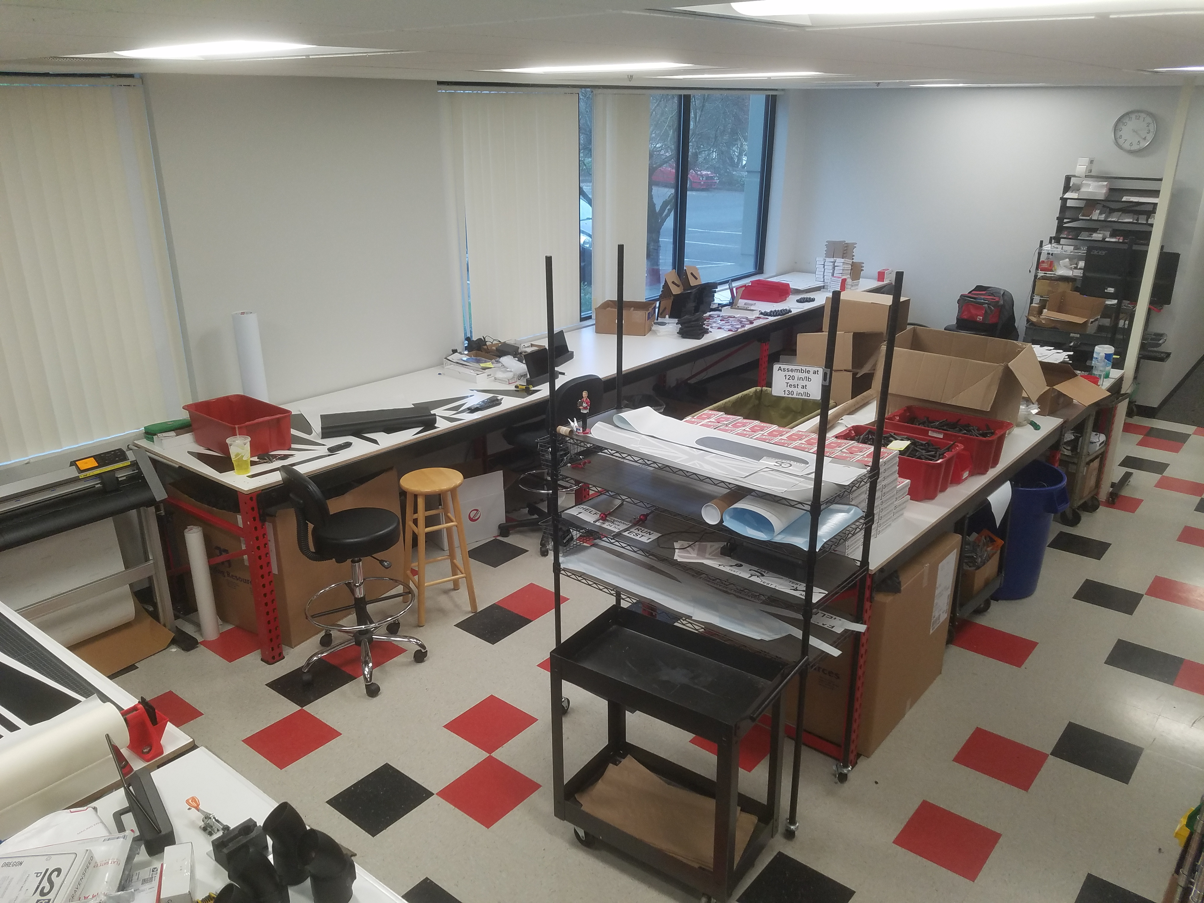 The CravenSpeed product assembly area, with new tables