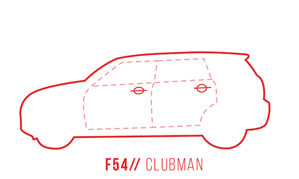 A profile outline of the MINI Clubman F54