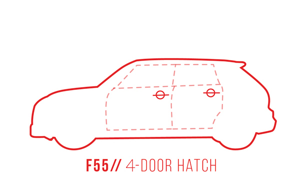 A profile outline of the MINI Hardtop 4 door F55