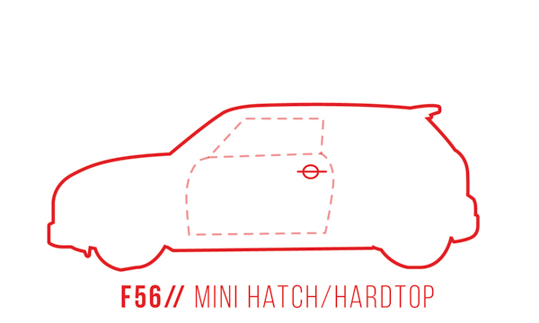 A profile outline of the MINI Hardtop 2 door F56