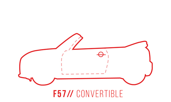 A profile outline of the MINI Convertible F57