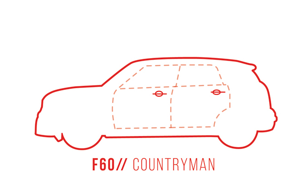 A profile outline of the MINI Countryman F60