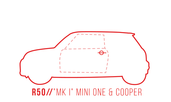 A profile outline of the MINI One/Cooper R50