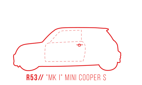 A profile outline of the MINI Cooper S R53