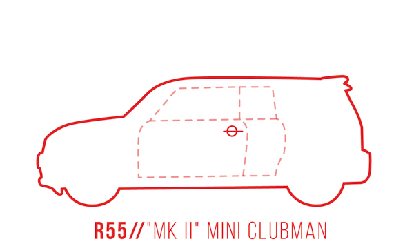 A profile outline of the MINI Clubman R55