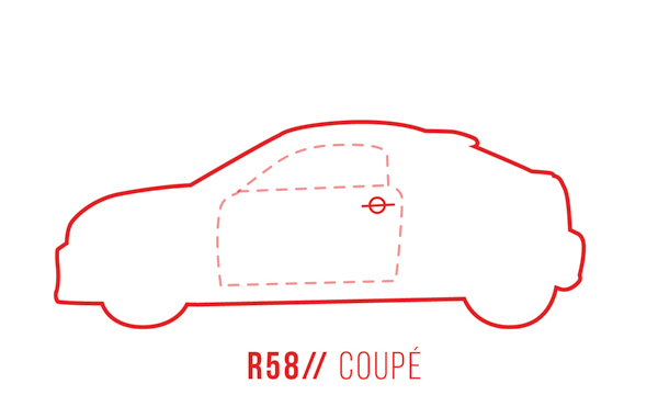 A profile outline of the MINI Coupe R58