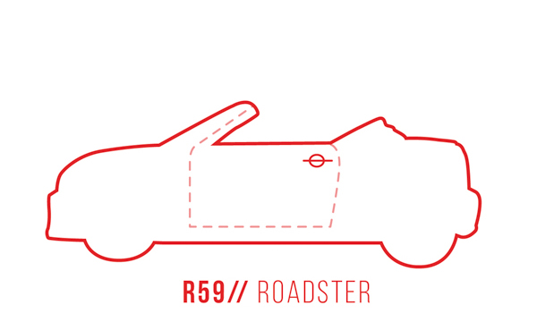 A profile outline of the MINI Roadster R59