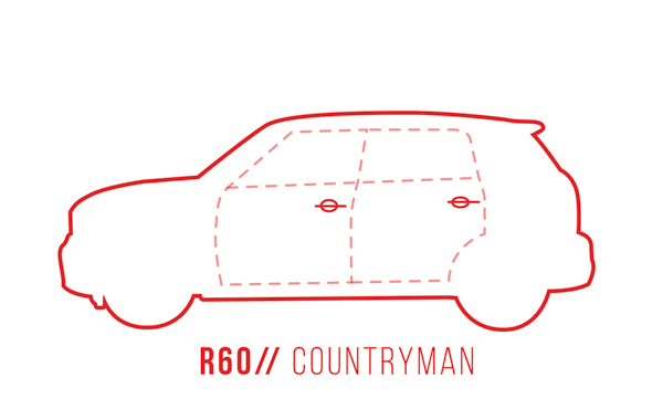 A profile outline of the MINI Countryman R60