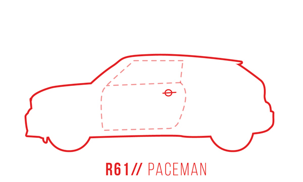 A profile outline of the MINI Paceman R61