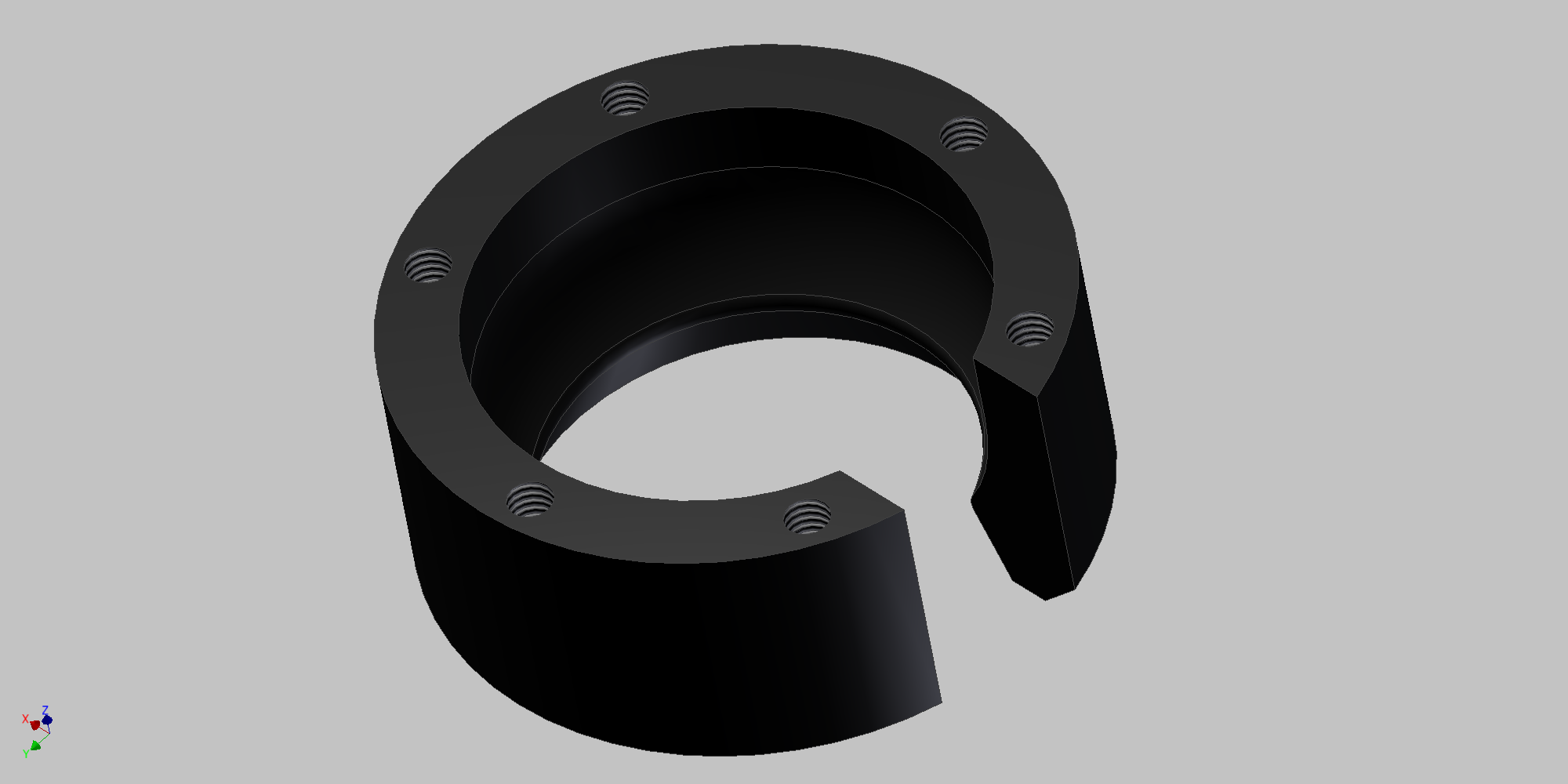 A render of the machined lower clip.