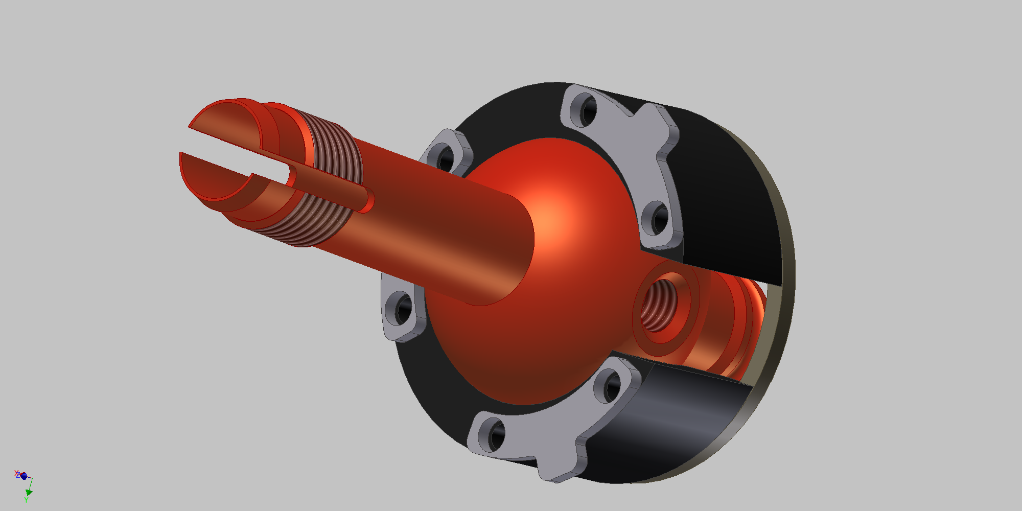 A render of the assembly with the final lock design.